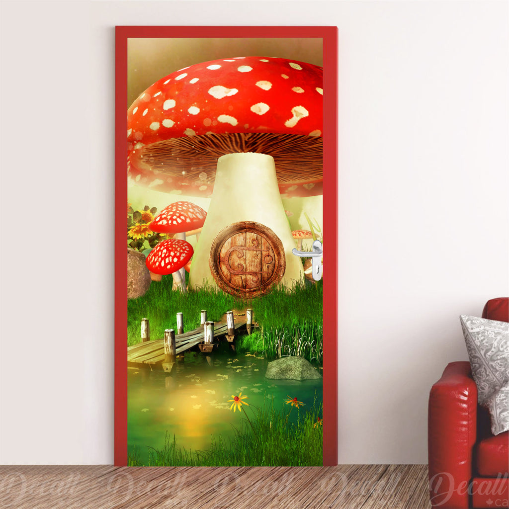 Dreamy Fairytale Mushroom House Door Mural - Door-Murals - Decall.ca