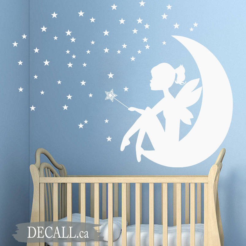 Fairy Little Girl on the Moon - Wand and Stars - Baby Nursery Wall Decal