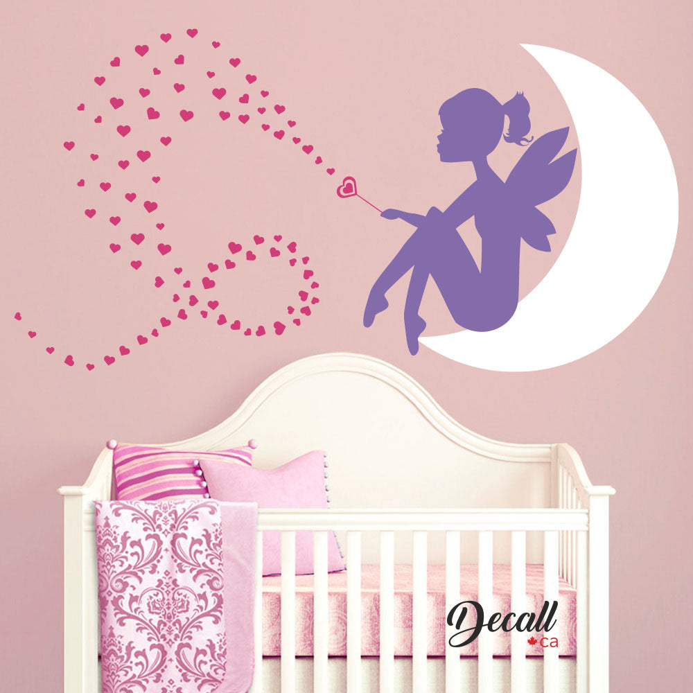 Fairy Little Girl on the Moon with Heart Wand - Baby Nursery Wall Decal