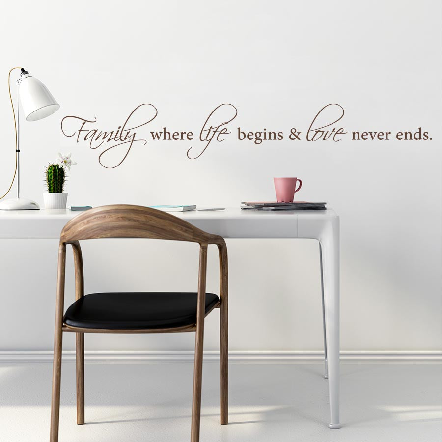 Family Where Life Begins And Love Never Ends - Wall Decal - Wall-Decals - Decall.ca
