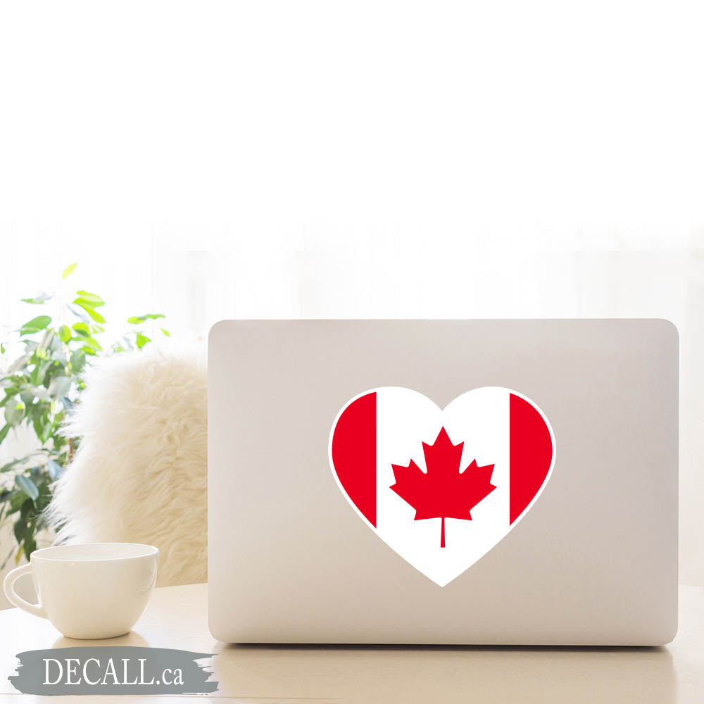 Canada Flag Heart Maple Leaf Sticker DS1225