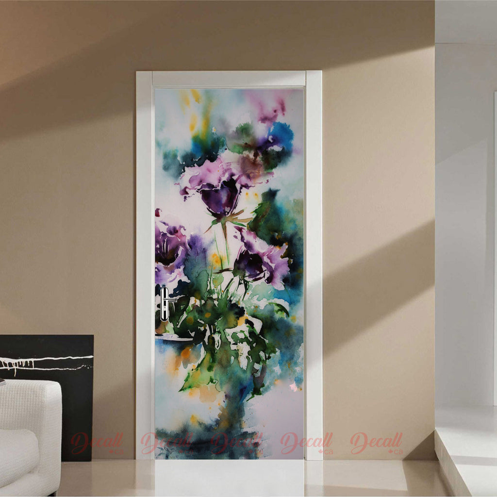 Flower Paint Door Mural - Door-Murals - Decall.ca