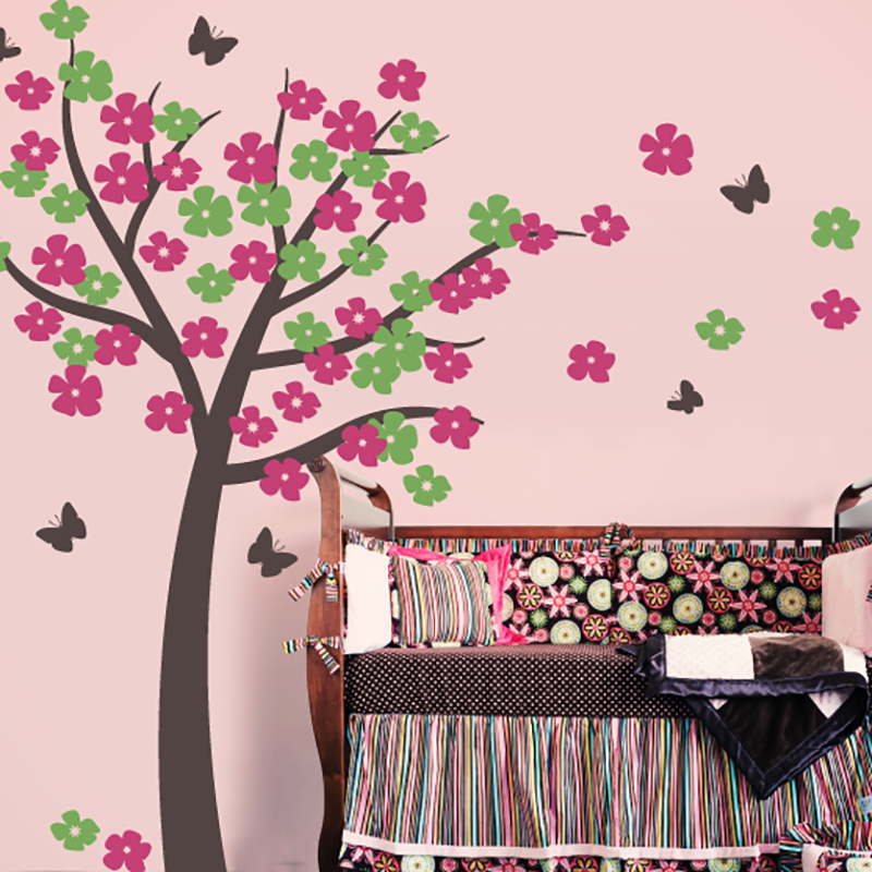 811b834299 Flowers Tree with Butterfly - Tree Wall Decal - Wall-Decals - Decall.ca