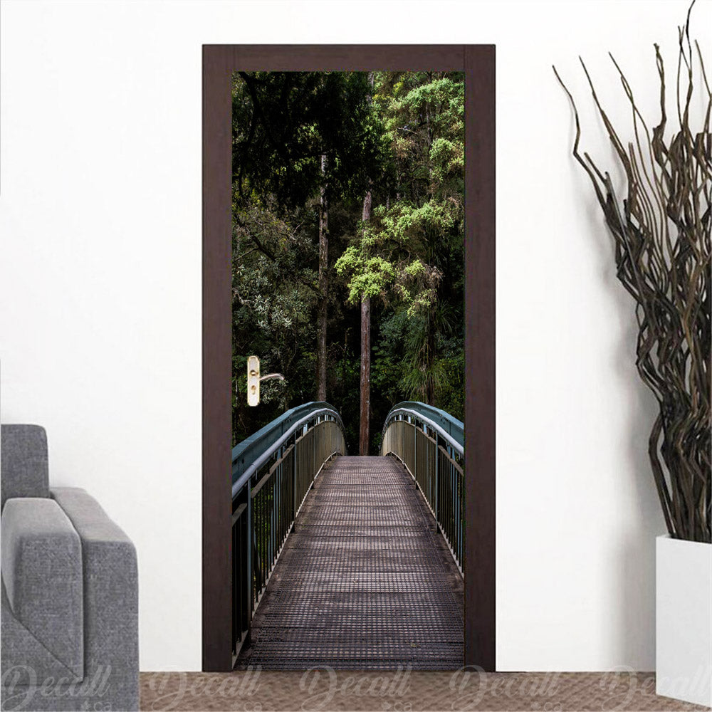 Forest Bridge Door Mural - Door-Murals - Decall.ca