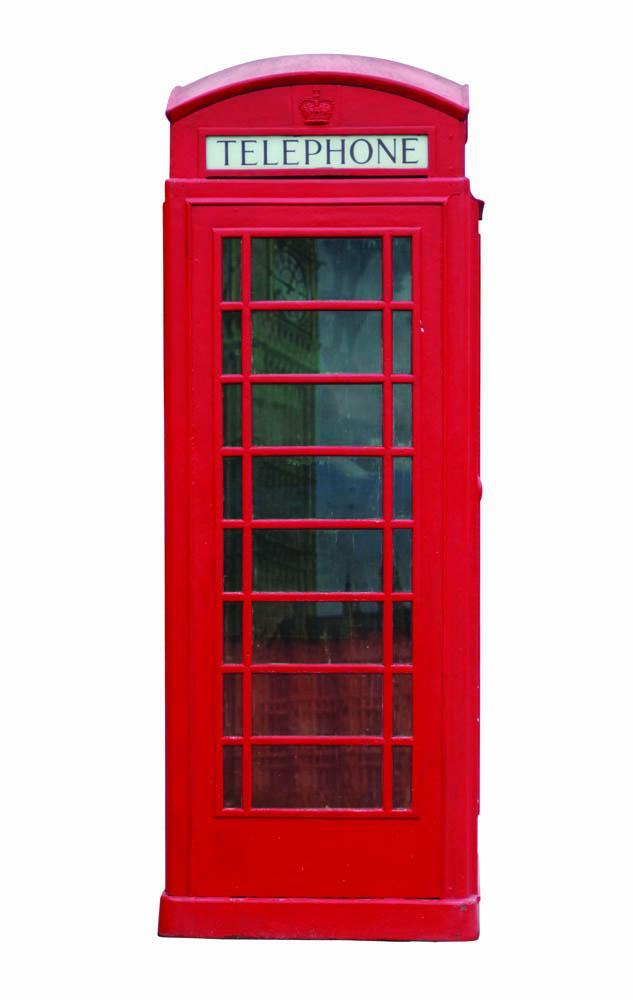 Red London Phone Booth Object Wall Mural Sticker