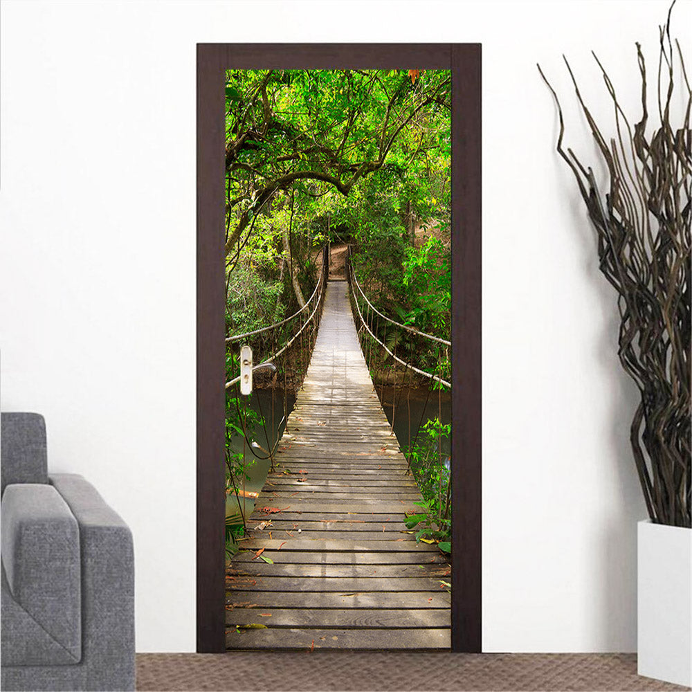 Hanging Bridge in National Park Door Mural - Door-Murals - Decall.ca