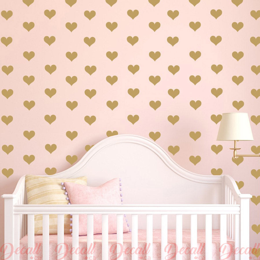 Hearts Removable Wall Decals Vinyl Stickers - Wall-Decals - Decall.ca