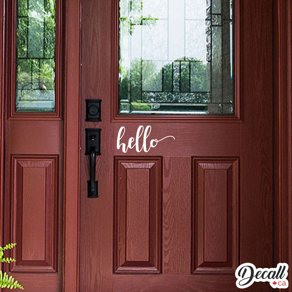 Hello Door Decal - Hello Decal - Hello Vinyl Decal - Hello Wall Decal - Wall-Decals - Decall.ca
