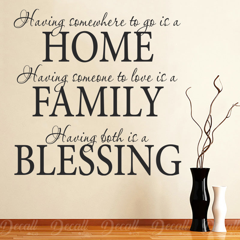 Home Family Blessing - Wall Quote Lettering - Wall-Decals - Decall.ca
