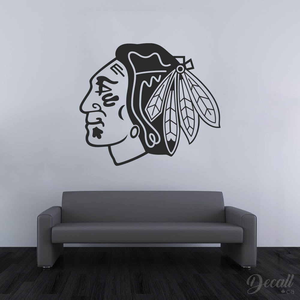 Ice Hockey Team Chicago Blackhawks - Black and White Logo - NHL Hockey Sport Team - Wall-Decals - Decall.ca