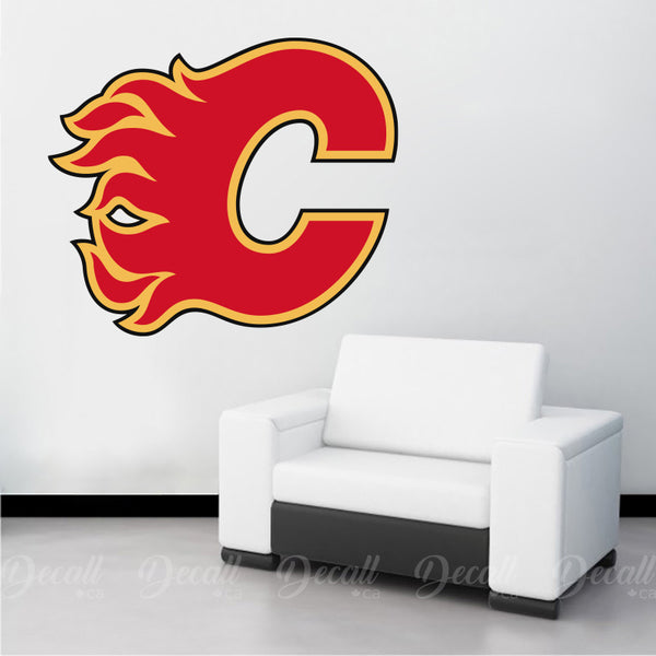 Ice Hockey Team Calgary Flames Logo Sport Wall Sticker - Wall-Stickers - Decall.ca