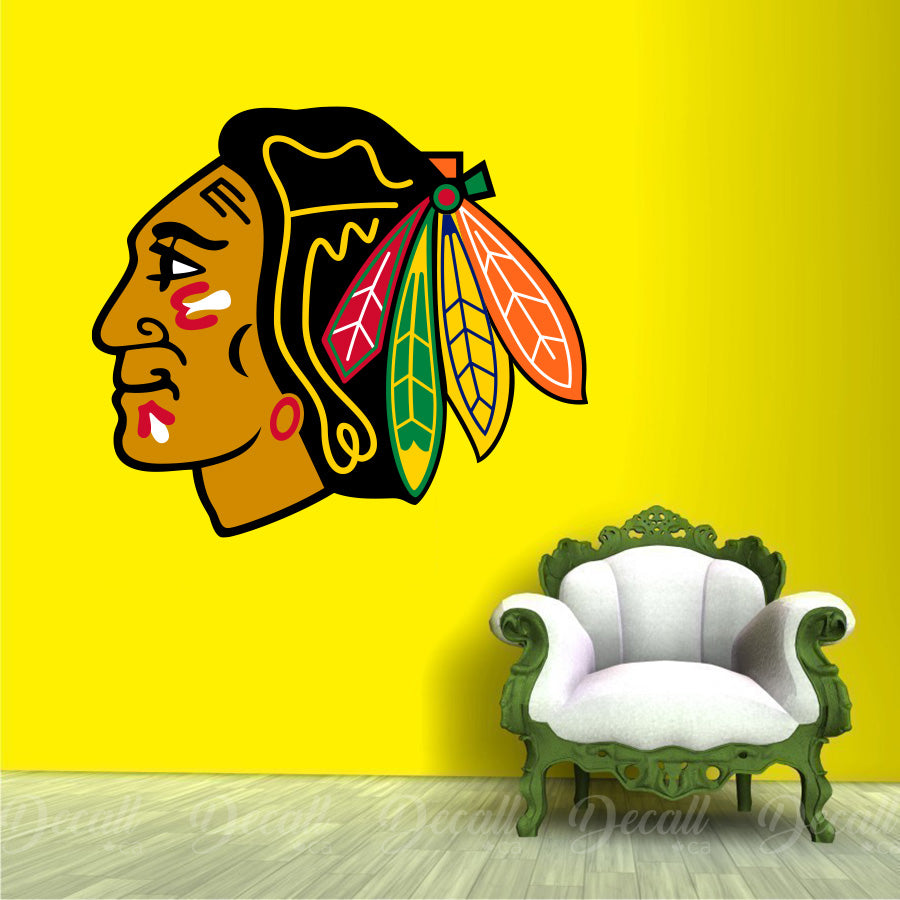Ice Hockey Team Chicago Blackhawks Logo Sport Wall Sticker - Wall-Stickers - Decall.ca
