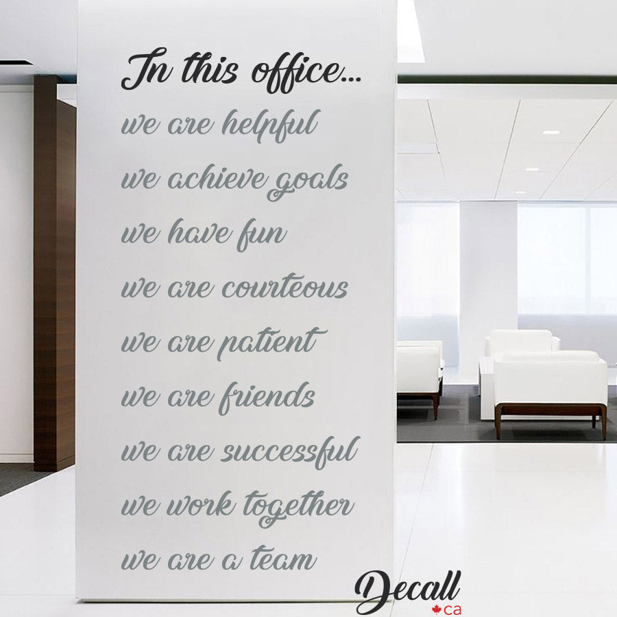 In This Office We Are A Team - Wall Decal - Wall Lettering - Wall Quote - Wall-Decals - Decall.ca