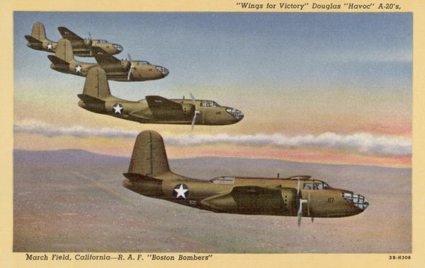 A-20 Bombers over March Military Wall Mural