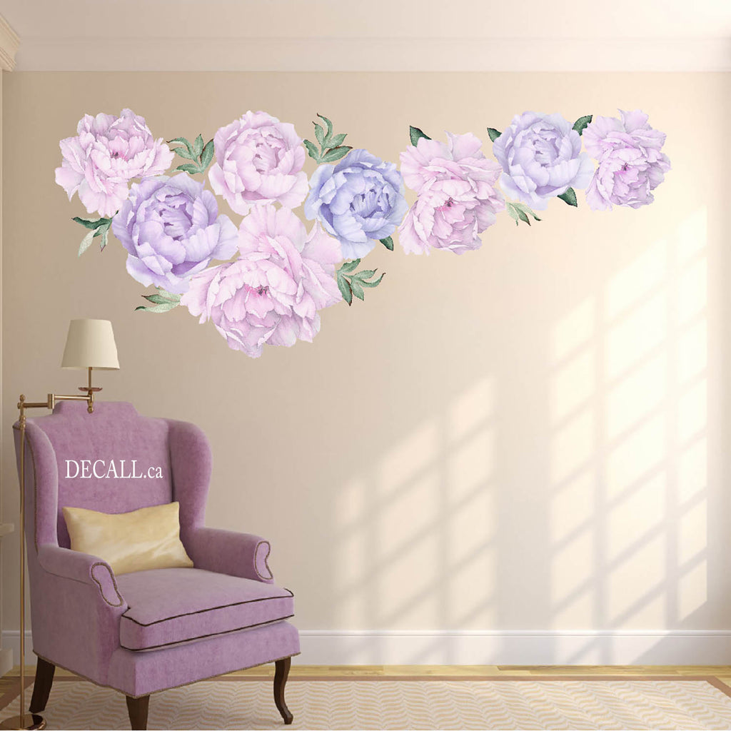 Light Pale Purple Peony Flower Wall Sticker - Peel & Stick Wall Decal - DWS1058