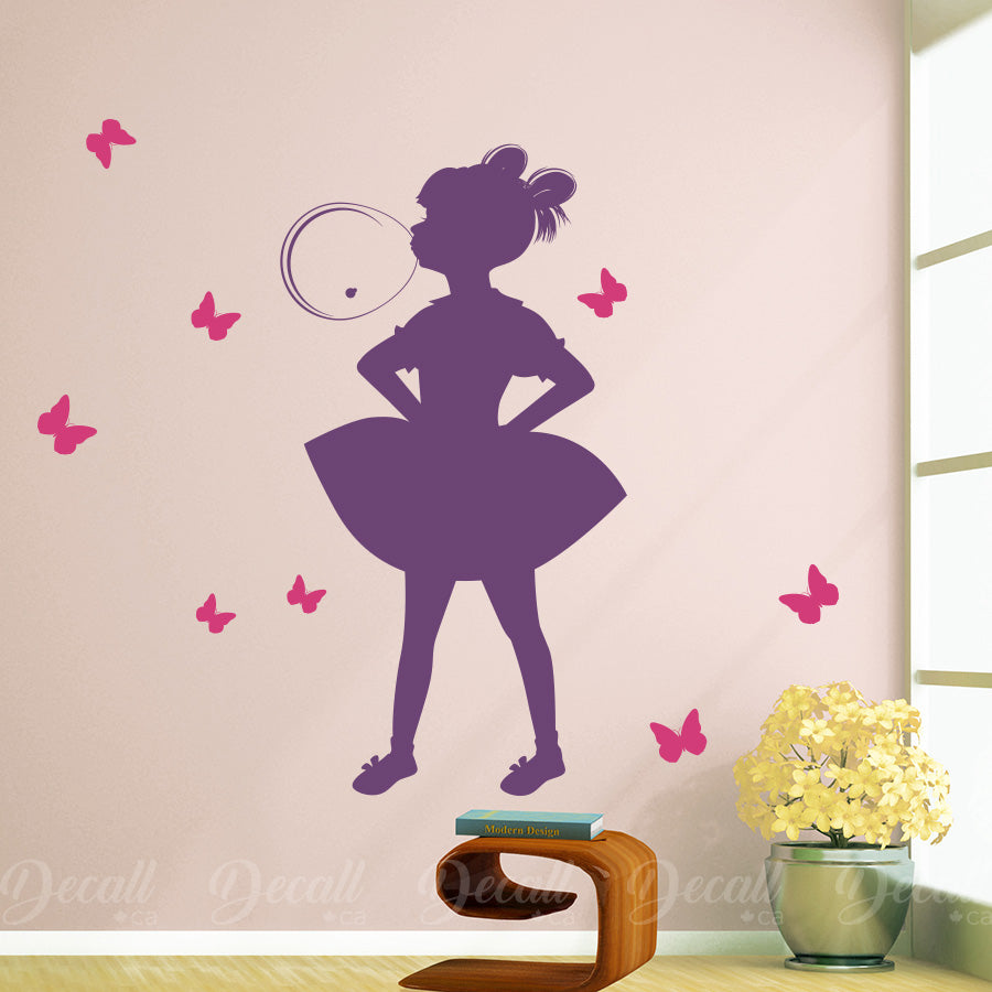 Little Girl Blowing Bubble Gum - Wall Decal - Wall-Decals - Decall.ca