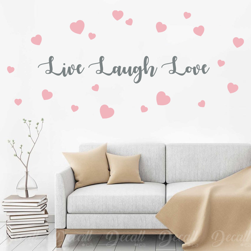 Live Laugh Love with Hearts - Wall Words - Wall-Decals - Decall.ca