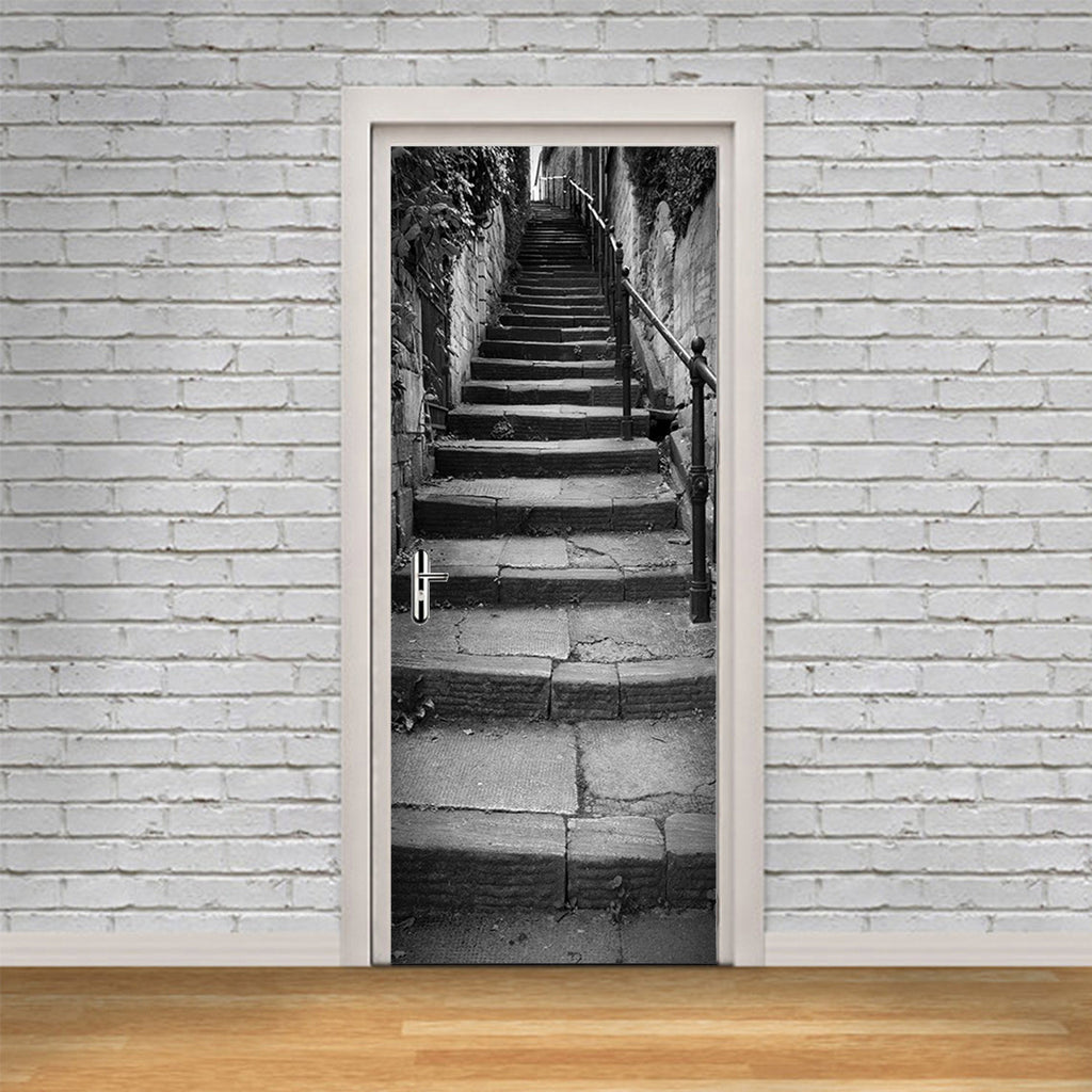 Long Flight of Old Stone Steps Door Mural - Door-Murals - Decall.ca