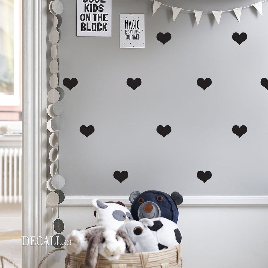 Love Hearts Wall Decals - Removable Vinyl Wall Stickers