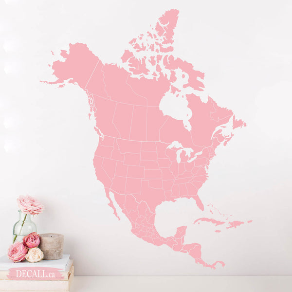 Map of North America Map Wall Decal