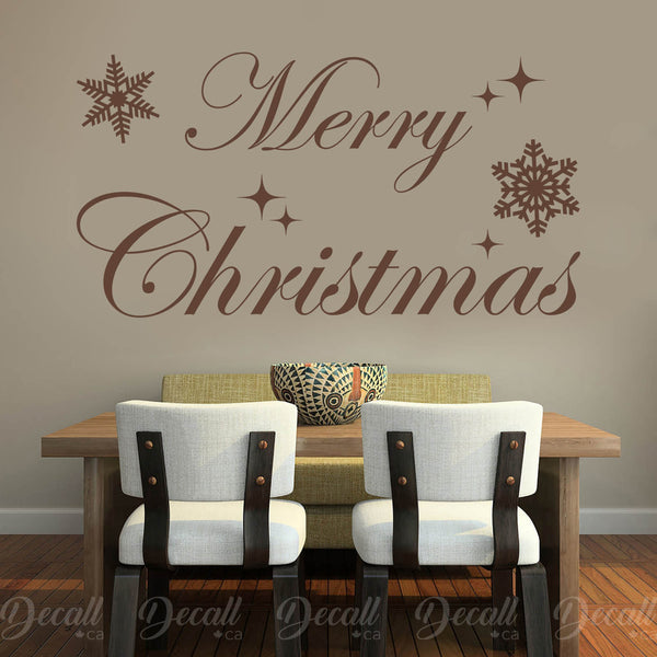 Merry Christmas with Snowflakes Wall Lettering Holiday Decor Wall Decal - Wall-Decals - Decall.ca