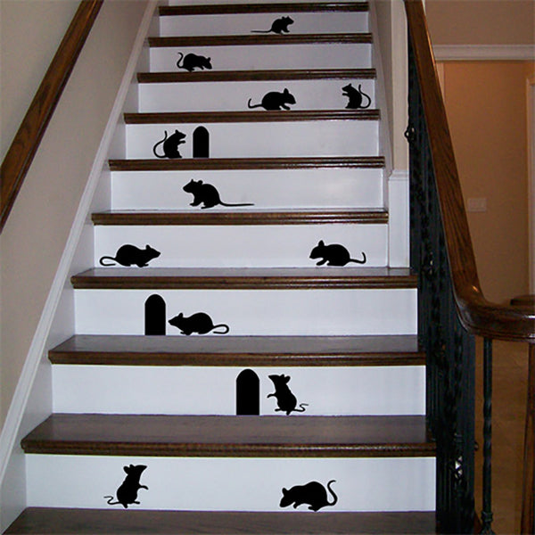 Mice Decals - Mouse Silhouette Stickers - Set of 12 - Halloween Decorations - Wall-Decals - Decall.ca