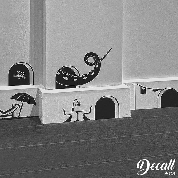 Mice House Silhouette Decals - Mouse Holes Stickers - Halloween Decor