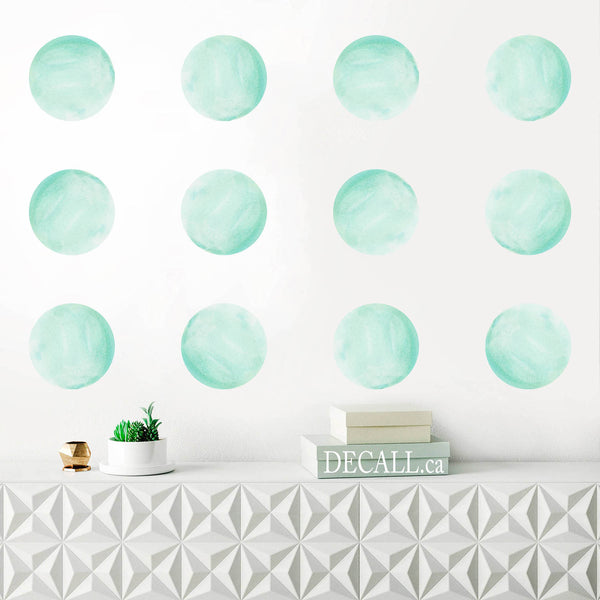 Mint Watercolor Dots Wall Decals - Polka Dots - Reusable Wall Stickers - DWS1150