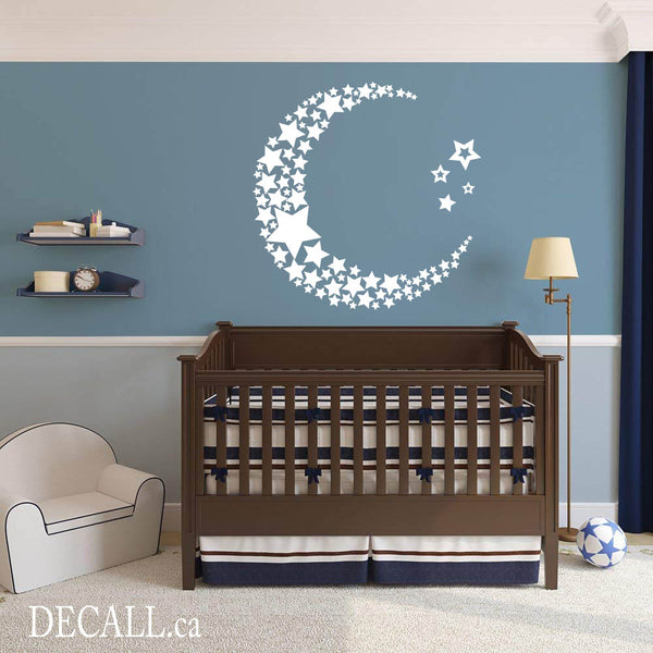 Moon and Stars Wall Decal - Baby Bedroom Nursery Decor D087