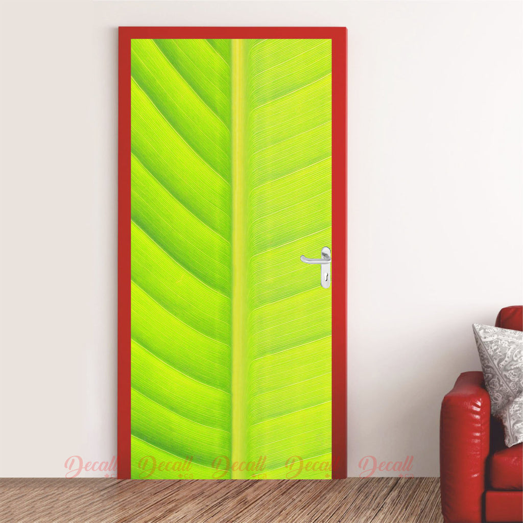 Nature Green Leaf Door Mural - Door-Murals - Decall.ca