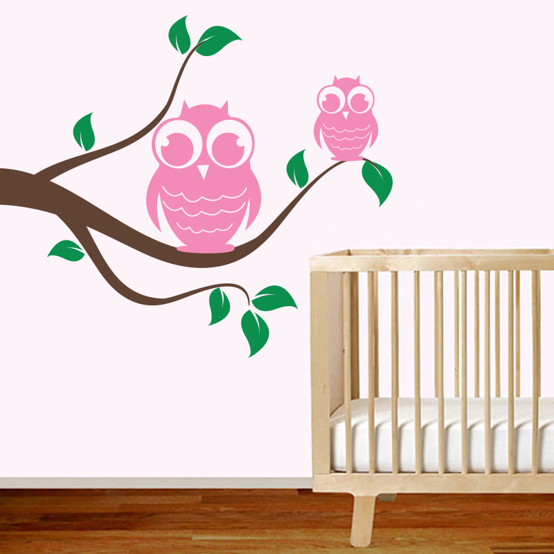 Owls On Swirly Branch - Nursery - Wall Decals Stickers - Wall-Decals - Decall.ca