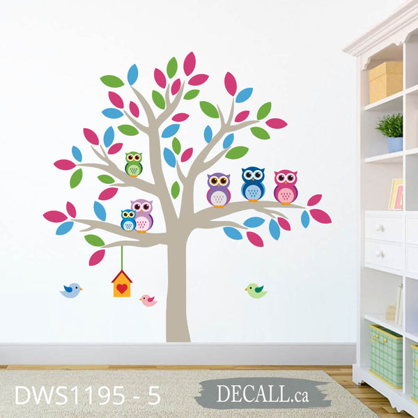Owl Tree Birds Bird House Nursery Wall Sticker DWS1195