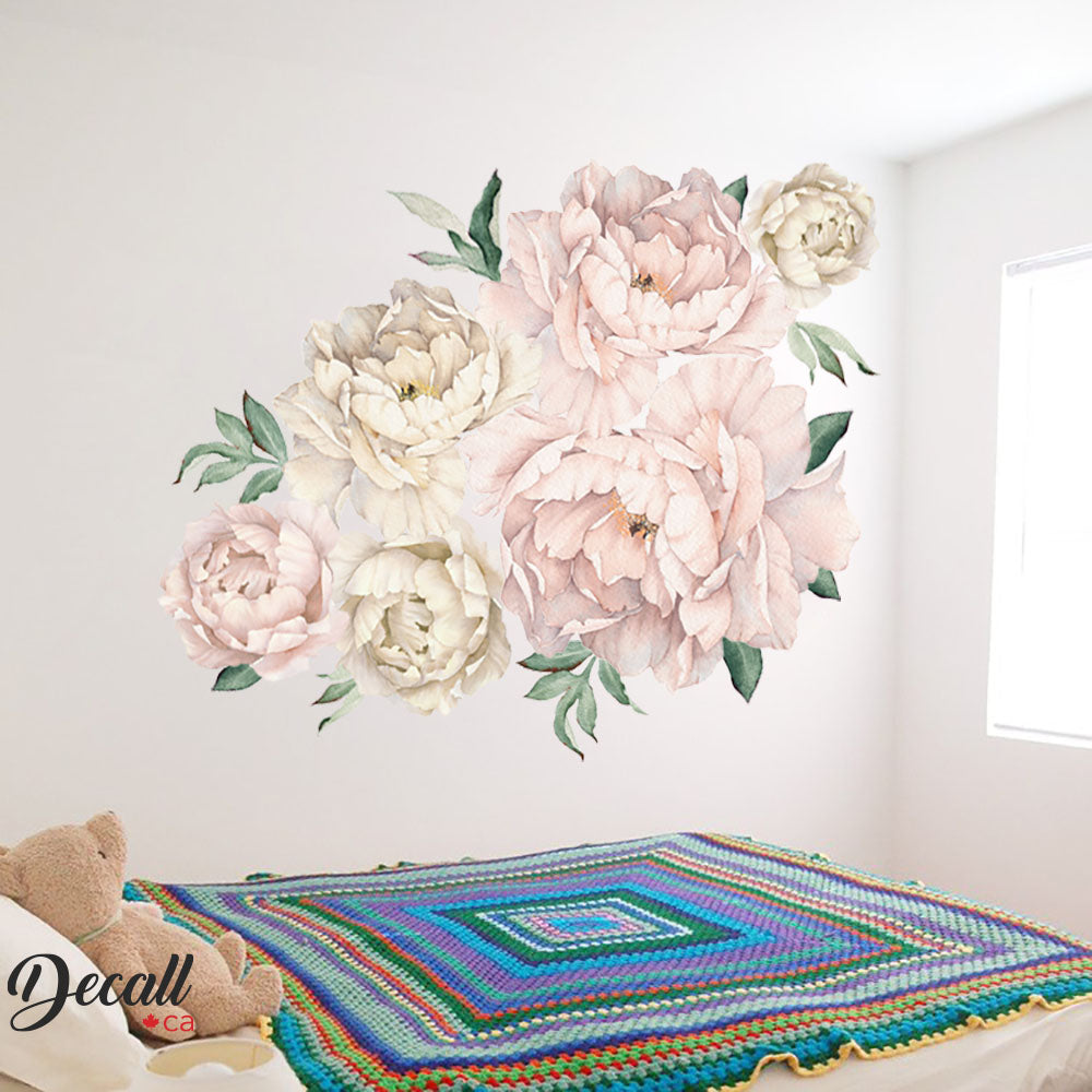 Soft Pink & White Peony Flower Wall Decals - Peel & Stick Reusable Wall Stickers - DWS1050 - Wall-Stickers - Decall.ca