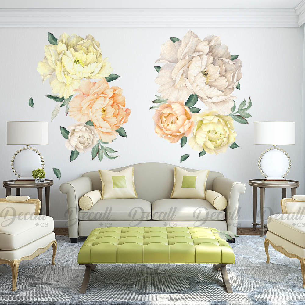 Reusable Peony Flowers Wall Sticker - Watercolor White Yellow Orange - Peel & Stick - DWS1046 - Wall-Stickers - Decall.ca