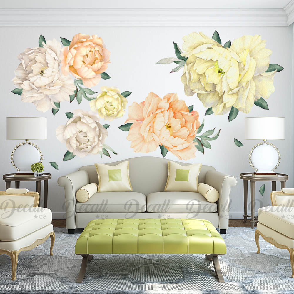 Reusable Peony Flowers Wall Stickers - Watercolor White Yellow Orange - Peel & Stick - DWS1047 - Wall-Stickers - Decall.ca
