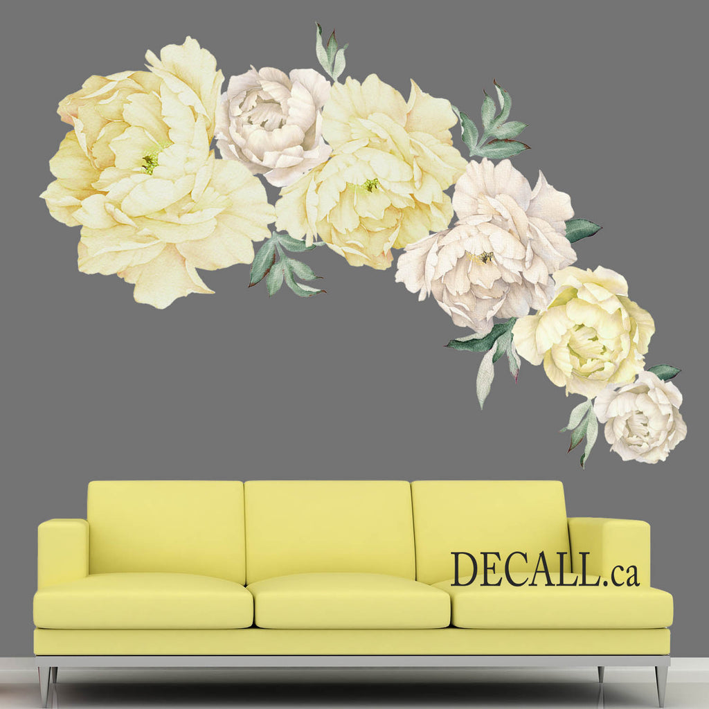 Peony Flower Wall Stickers - Watercolor White & Yellow - Peel & Stick Wall Decals - DWS1061