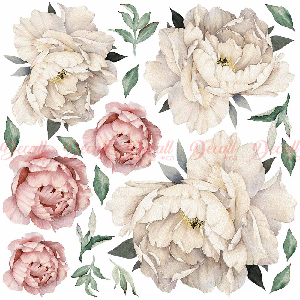 Peony Flowers Wall Sticker - Vintage Watercolor - Peel and Stick Reusable Wall Stickers - DWS1040 - Wall-Stickers - Decall.ca