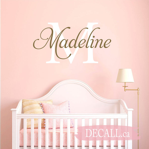 Personalized Wall Decal Name Decal Girls Nursery Decal Name Sticker Twig Grapevine Wreath Decal Rustic Nursery Decal Name Vinyl Decal S15