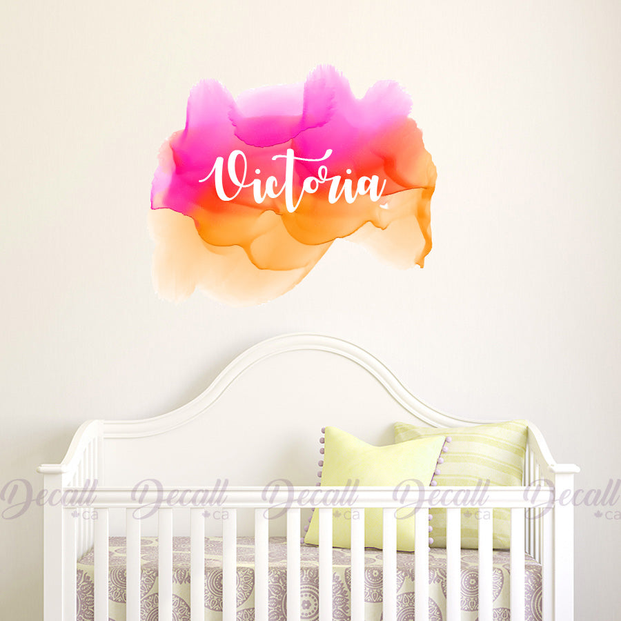 Customize Name Wall Sticker Decal - Nursery Wall Decor - Reusable Fabric Decal - Wall-Stickers - Decall.ca