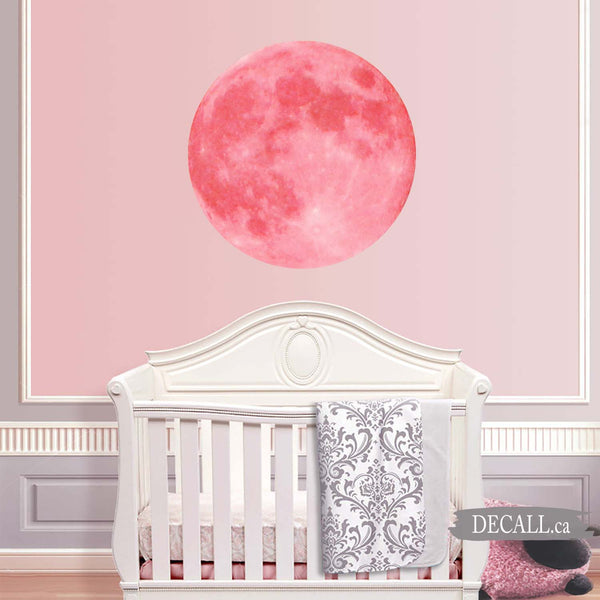 Pink Full Moon Space Wall Sticker DWS1155
