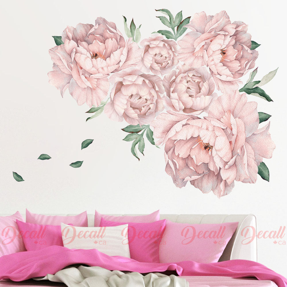 Pink Peony Floral Wall Sticker - Peel & Stick Nursery Wall Stickers - DWS1052 - Wall-Stickers - Decall.ca