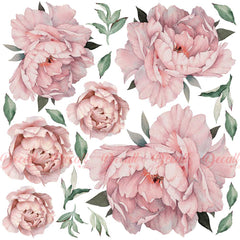 Still life Peonies vlies or self-adhesive mural wallpaper Still-life with a bouquet of pink and white peonies in a jug and peaches W#107