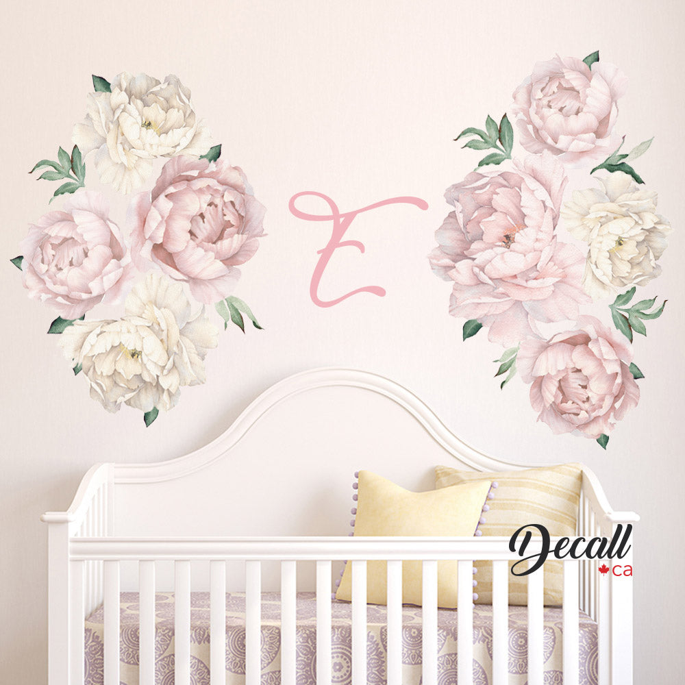 db44934ab3a Pink   White Peony Flower Wall Decals - Peel   Stick Reusable Wall Stickers  - DWS1059