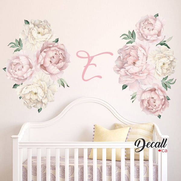 Pink & White Peony Flower Wall Decals - Peel & Stick Reusable Wall Stickers - DWS1059