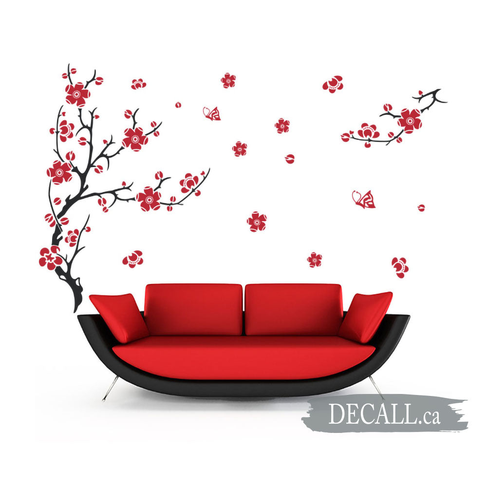 Plum Blossom Flower With Butterfly Wall Decal A648