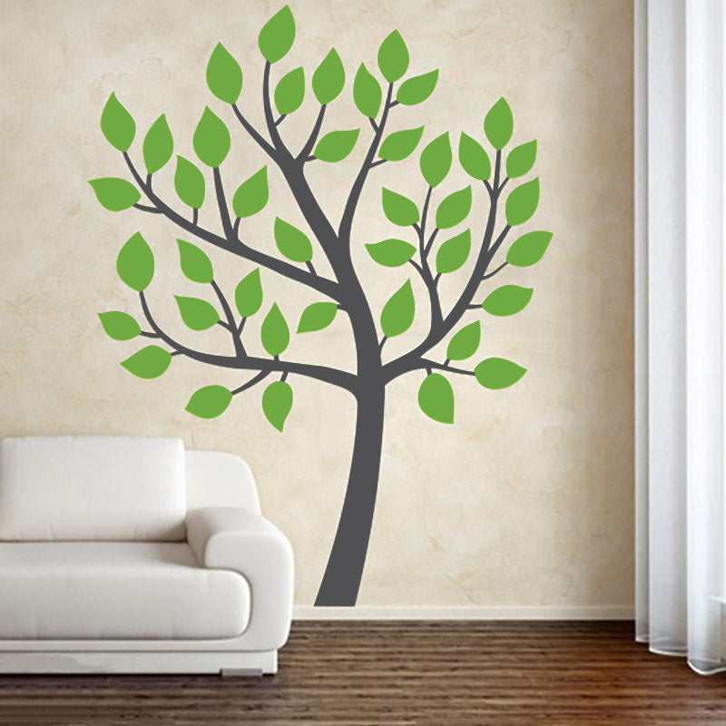 Pretty Tree With Leaves - Wall Decals Stickers - Wall-Decals - Decall.ca