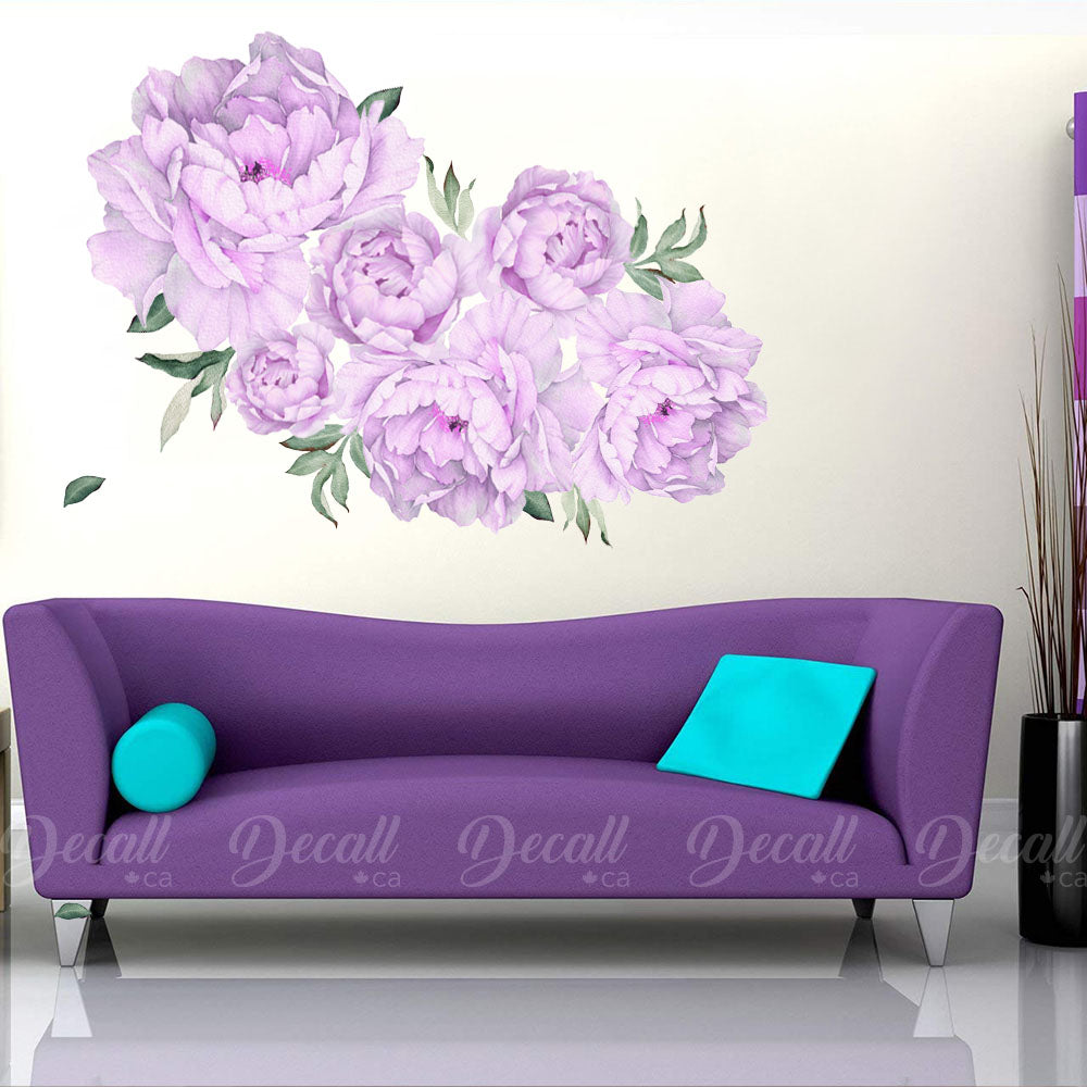 Purple Lilac Peony Flowers Wall Sticker - Reusable Peel & Stick Wall Decal - DWS1054 - Wall-Stickers - Decall.ca
