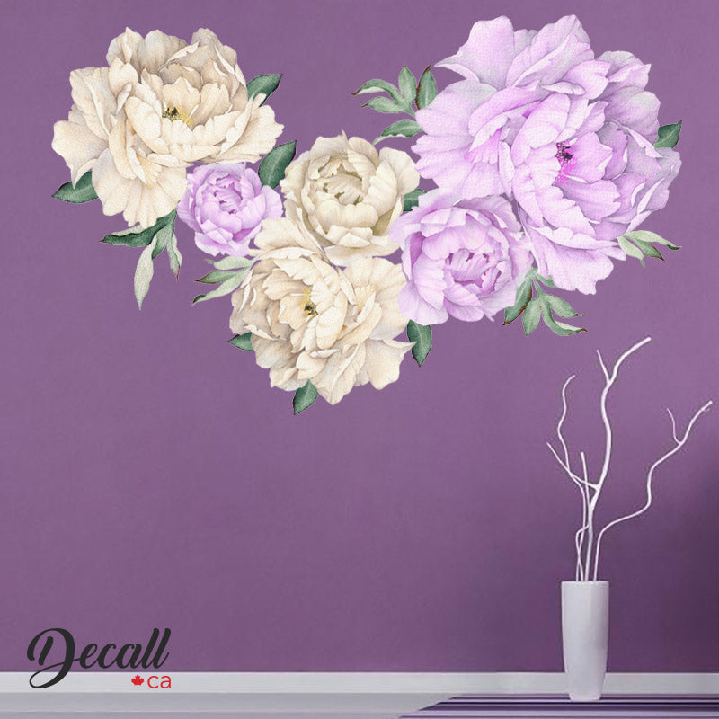 Purple Lilac & White Peony Flowers Wall Sticker - Peel & Stick Wall Decal - DWS1053 - Wall-Stickers - Decall.ca