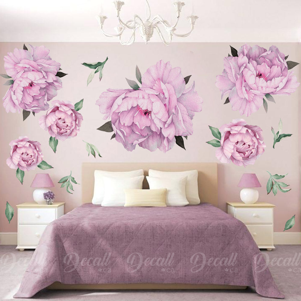 Purple Peony Flowers Wall Sticker - Vintage Watercolor - Peel and Stick Reusable Wall Stickers - DWS1042 - Wall-Stickers - Decall.ca
