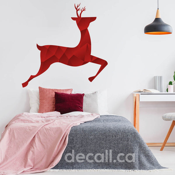 Red Caribou Deer Dancing Animal Christmas Holiday Wall Sticker DWS1218
